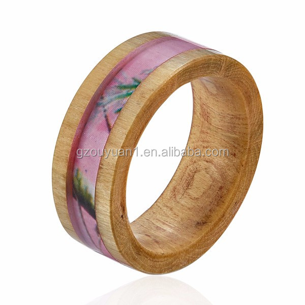 8MM Best Selling Eco-friendly Wooden Ring Jewelry Wholesale Wood Ring With Pink Camouflage