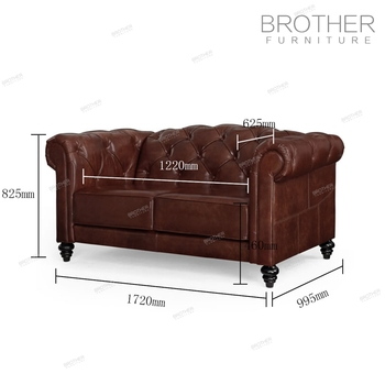 Living Room Furniture Modern Chesterfield Sofa Genuine Leather