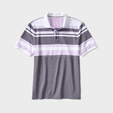 China alibaba wholesale men's mixed stripe grey color short sleeve polo shirt