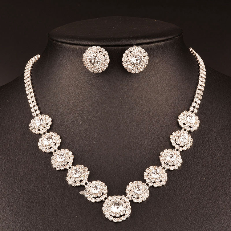 Big Diamond Fashion Love Bridal Wedding Necklace Earrings Jewelry Set For Party Luxry Dress Accessories