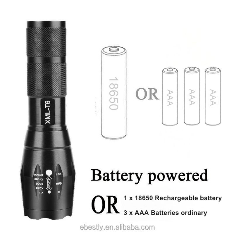Wholesale Zoom Flashlight 2500lm XM-L T6 LED 18650 Flashlight Hunting Torch Lamp Light 5 Mode Zoomable/ Zoom Flashlight Factory