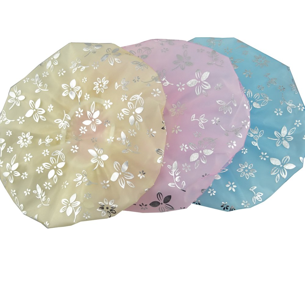 yueton 3 Pack of Elastic Double Layers Waterproof Shower Cap for Bath Spa Makeup