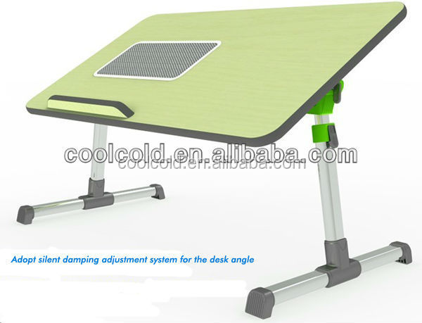 Adjustable laptop cooling desk with cooling fan standing, portable foldable laptop table