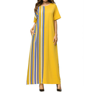 80730-MX61 Yellow casual o-neck printed short sleeve plain dress