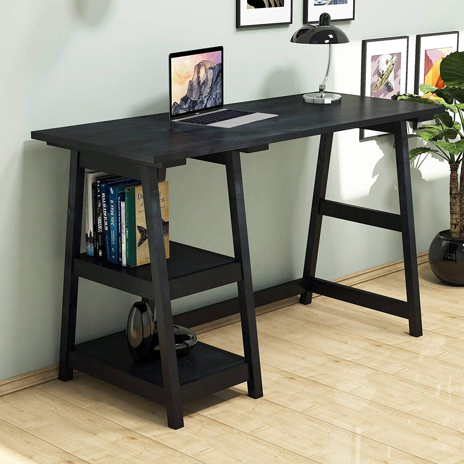 Black Wooden Study Desk, 100% Pine Wood - Functional Modern Computer Desk, Stable Stylish Decorative Accessory, Study & Laptop Table for Home, Office, Living Room, Study Room