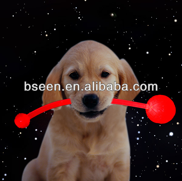 2014 new interesting prodct led glowing dog toy rubber ball