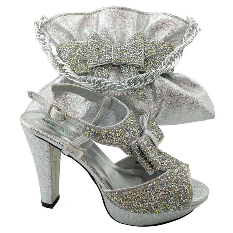 Sinyafashion SGF 987 6 Silver New Italian Wedding Shoes And Matching Bag Setwomen