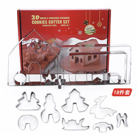 18 Piece Cookie Cutter Set Christmas Gingerbread DIY Baking Tool Stainless Steel