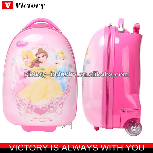 Cartoon kids luggage on wheels,hard shape trolley bag
