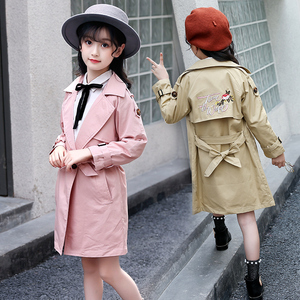 Girls autumn overcoat cotton fabric boutique embroidered long dust coat