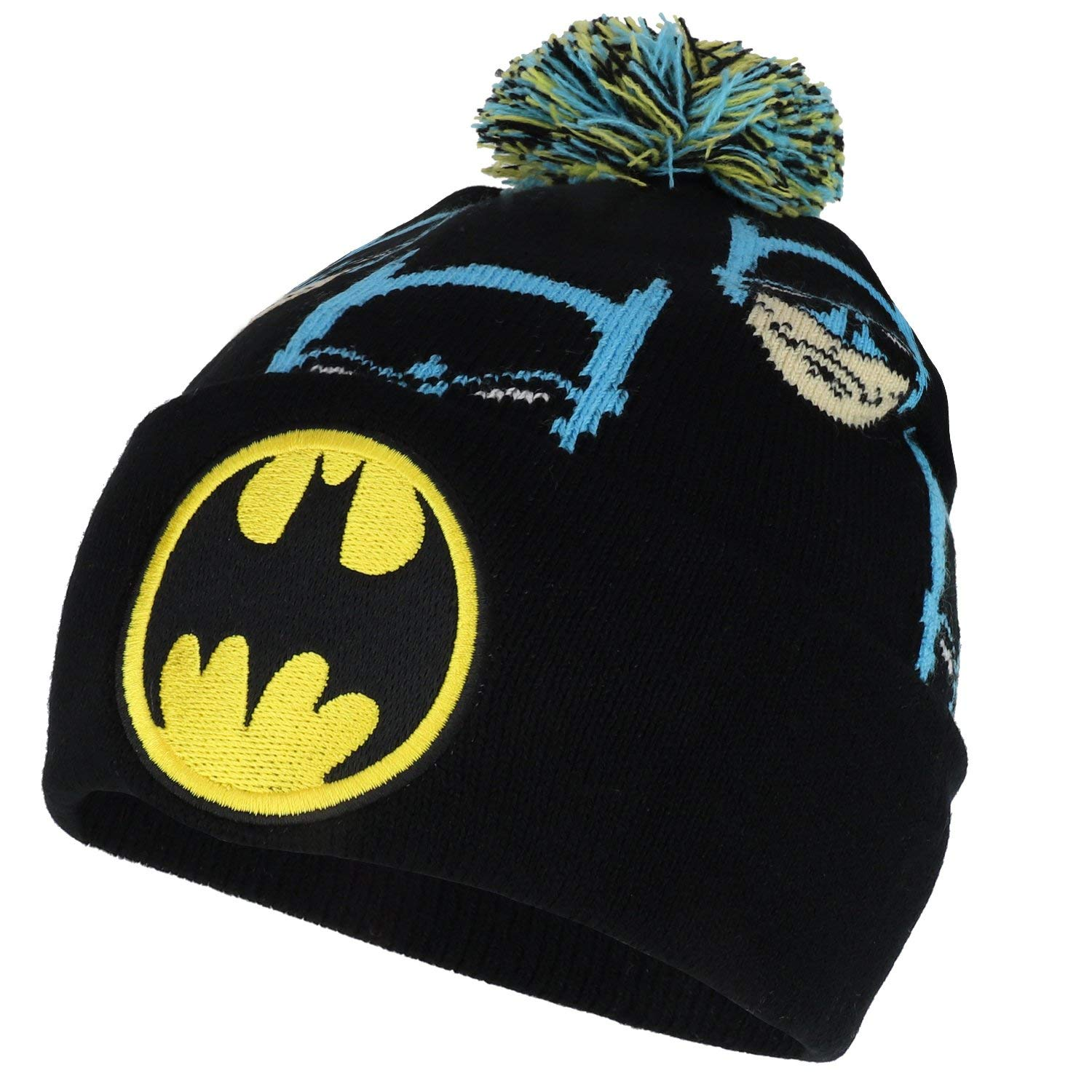 be4fa956cac Get Quotations · Armycrew Classic Batman Logo Embroidered Long Cuff Pom  Beanie