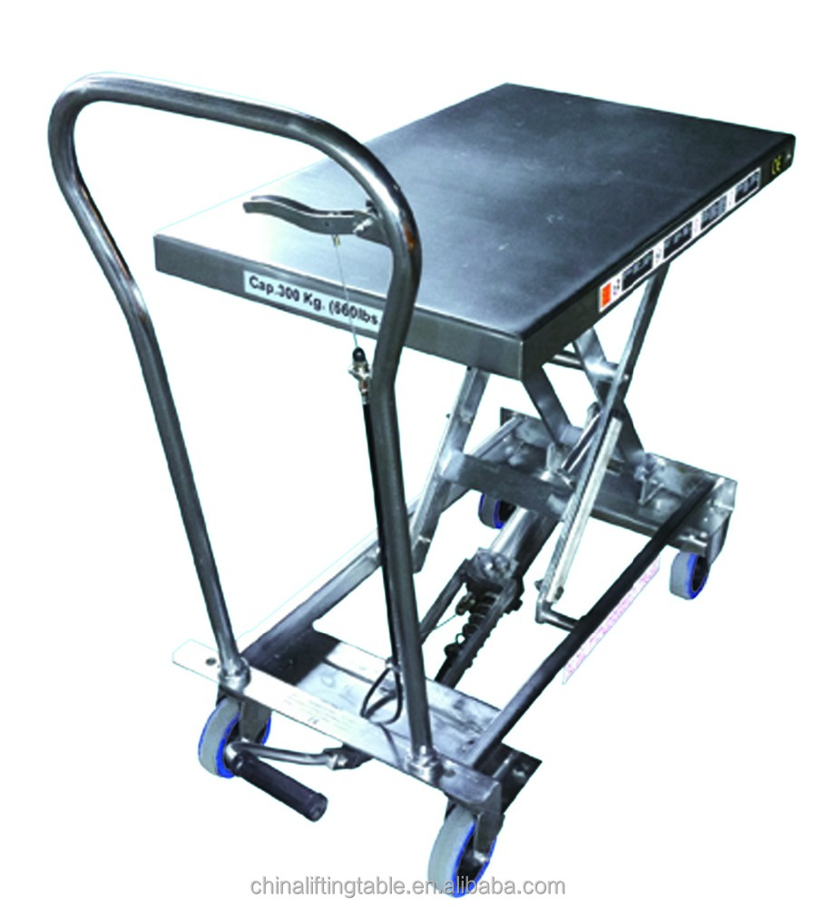 300kg capacity Stainless Steel Hydraulic Scissor Lift Tables / Pallet Jack