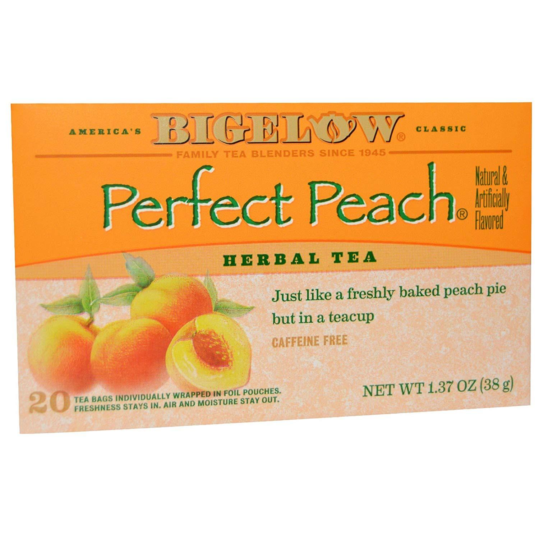 Bigelow, Herb Tea, Perfect Peach, Caffeine Free, 20 Tea Bags, 1.37 oz (38 g) - 2PC