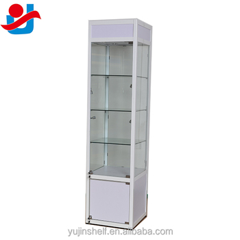 Gentil Free Standing Moden Glass Display Show Case With Cabinet /White Glass Tower  Display Case