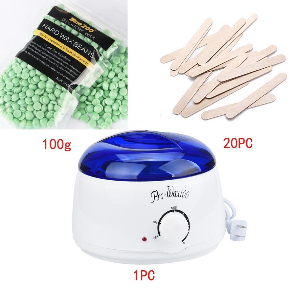 Hot Sale!!!OVERMAL Hair Removal Bean Wiping Sticks Hot Wax Warmer Heater Pot Depilatory Set (I)