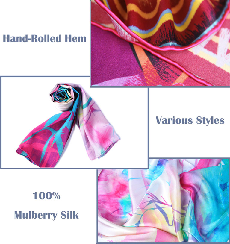 Custom digital print twill silk scarf 90x90 size as customer request