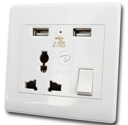 5V 2.1A Universal 3 points Wall Socket with USB Port -2