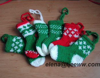Hand Knitted Christmas Tree Decorations Stockings