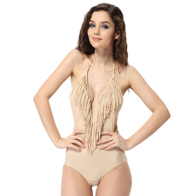 0f542d0d2917b Get Quotations · Bodysuit Women 2015 New Style Solid Color Tassel One Piece  Swimsuit Hot Sale Sexy V Neck