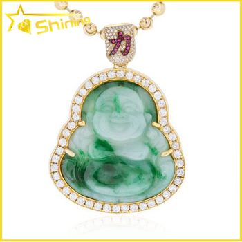 Hot selling bling bling brass hip hop men laughing jade buddha hot selling bling bling brass hip hop men laughing jade buddha pendant aloadofball Image collections