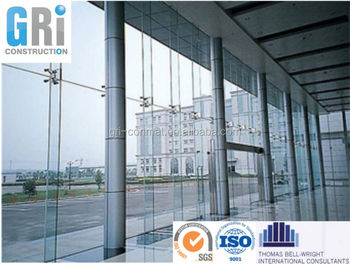 Curtain wall exterior point fixing glass wall with - Residential exterior glass wall panels ...