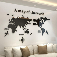 Home decoration world map 3d acrylic wall stickers