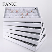 FANXI China Supplier Stackable Wedding Ring Necklace Earring Holder Showcase White PU Leather Ice Velvet Jewelry Tray