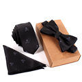 2016 Brand Wedding Necktie Pocket Square Towel Bow Tie Print Set Mens Suit Papillon Corbatas Handkerchief