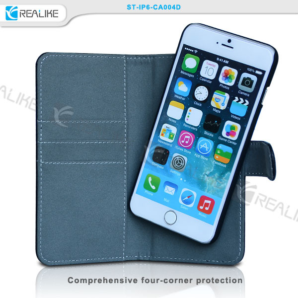 REALIKE magnetic holder wallet leather phone case for iphone 6