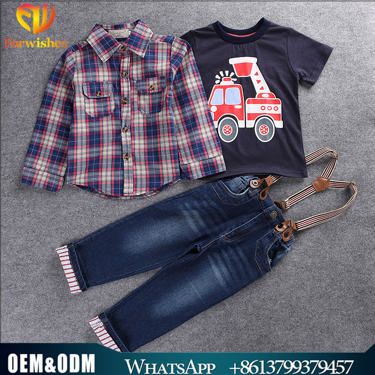 2017Spring Children Sets Most Delicate to Manual Work Western Handsome Boy Car Grid Shirt Jeans 3 pieces Suits Kids Clothing