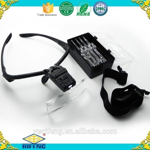 Eyeglasses Interchangeable Magnifying Glass with LED Lights Multiple Lens Bracket and Headband Applied in Beauty Makeup