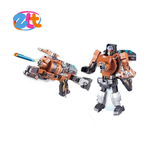 alloy soft gun transform robot with soft bullet and glasses ,big deformation toy