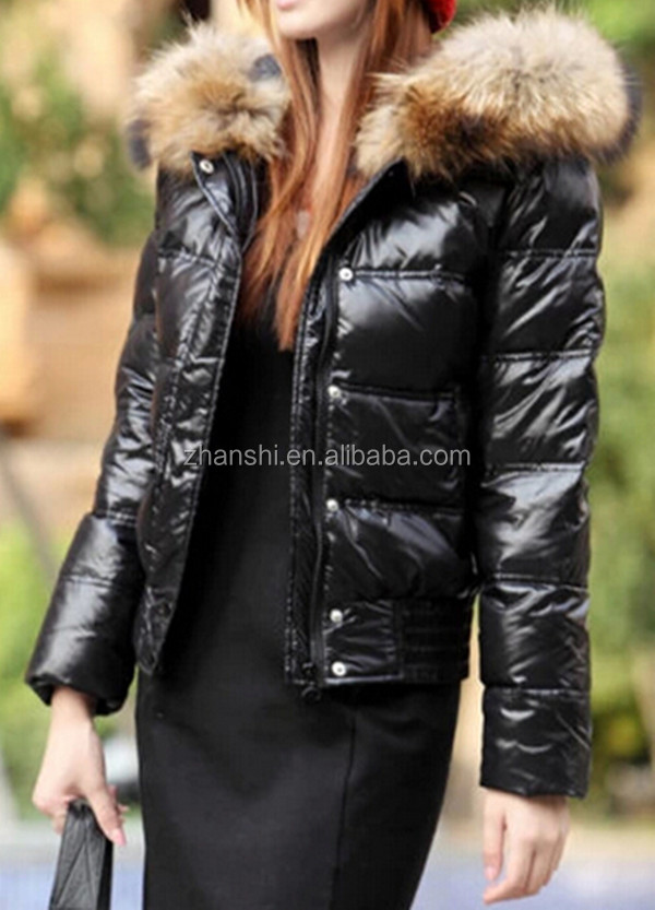 Korean Style Top Quality Girls Winter Shiny Down Jacket With Fur ...