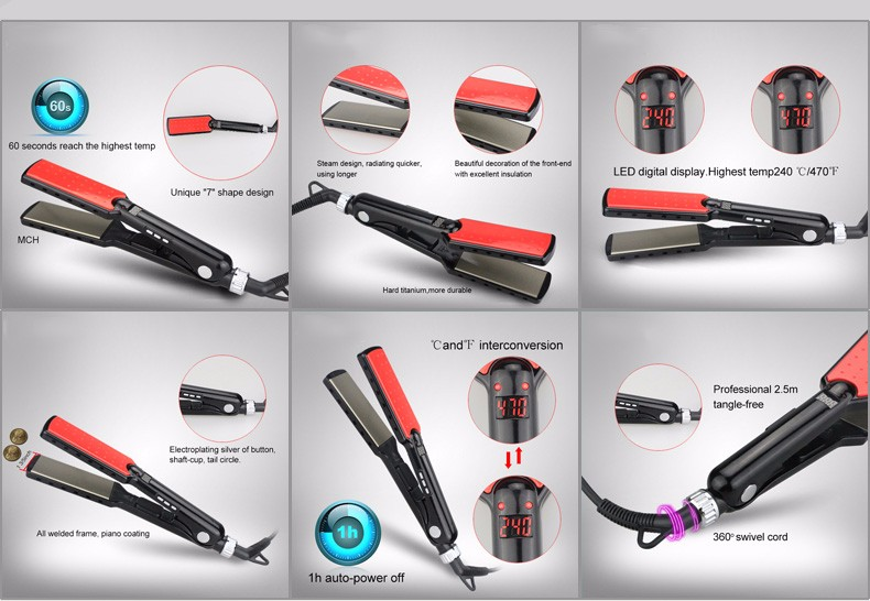 2017 hot sell 450 degrees custom ceramic electric professional steam hair straightener flat iron