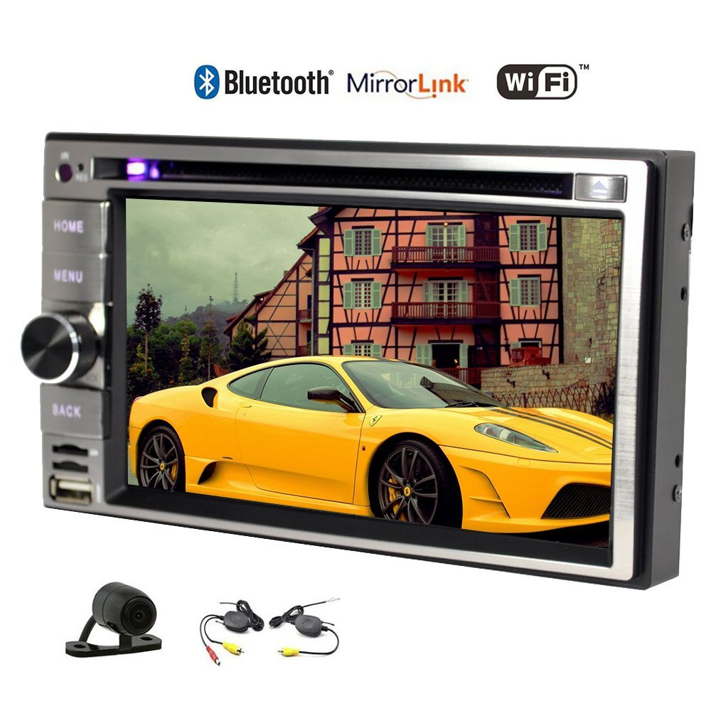 Wireless Rear Camera included Double 2 Din Head Unit Android 5.1 GPS Navigation Car Stereo with 6.2 inch Capacitive Touch Screen Auto Radio Audio Built-in AM/FM Bluetooth Wifi Mirrorlink