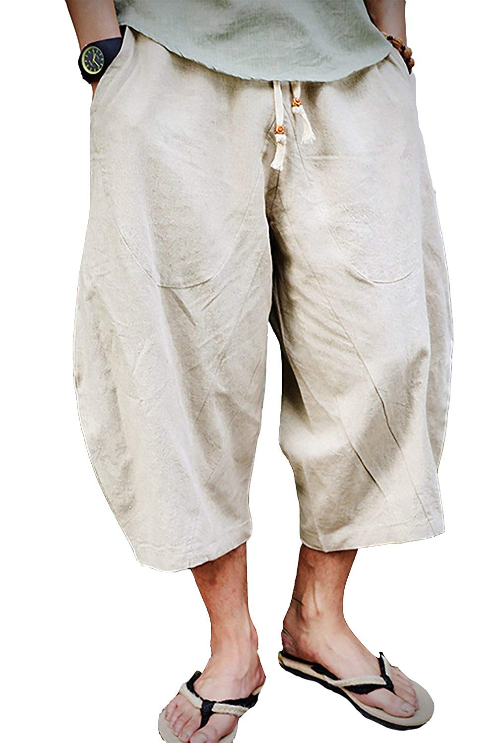 JXG Men Cotton Linen Chinese Style Big and Tall Harem Loose Cropped Pants