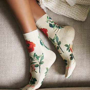 Classic Flower Butterfly Solid Camel Color Woman Custom printed socks