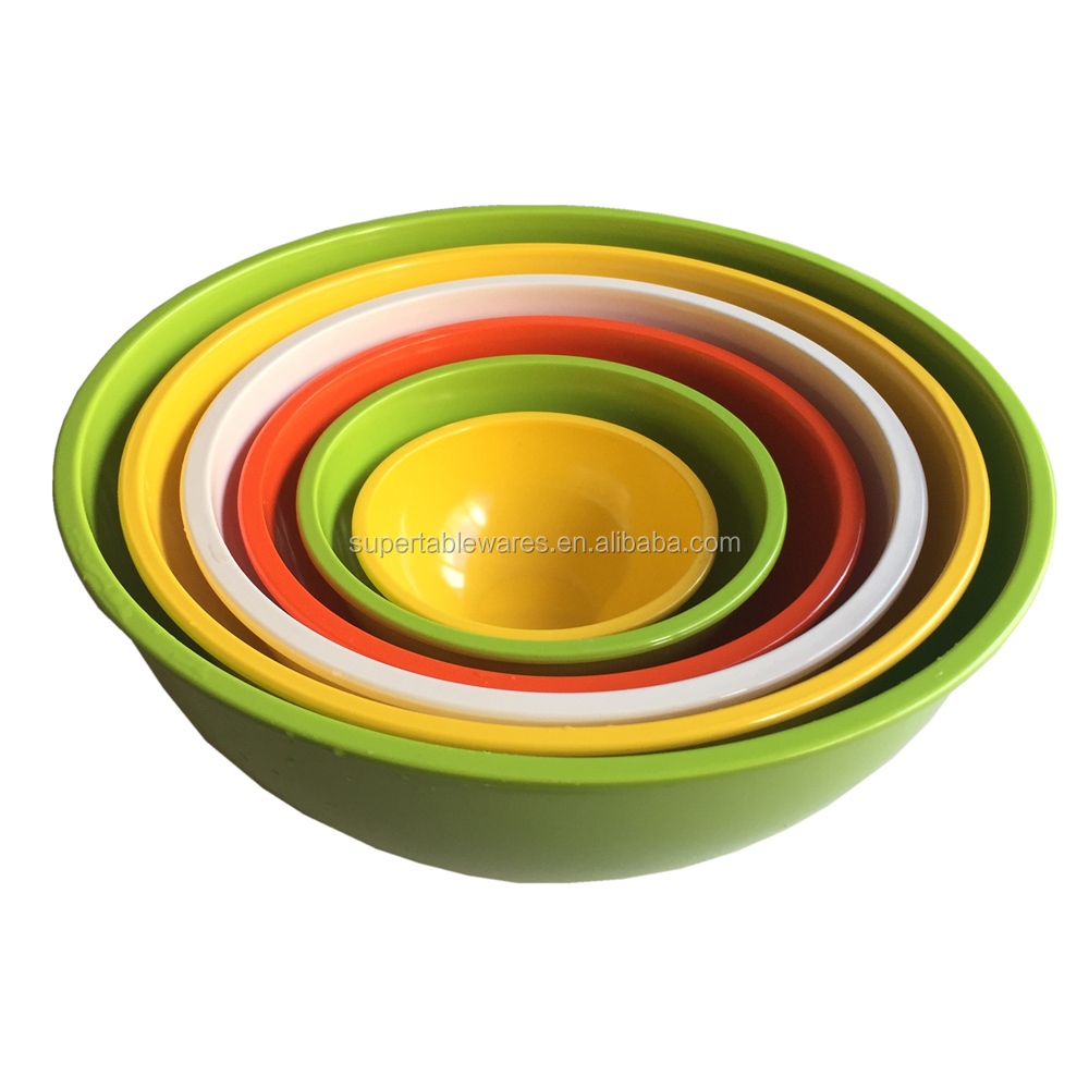 colorful melamine plastic food container 6pcs mixing bowl