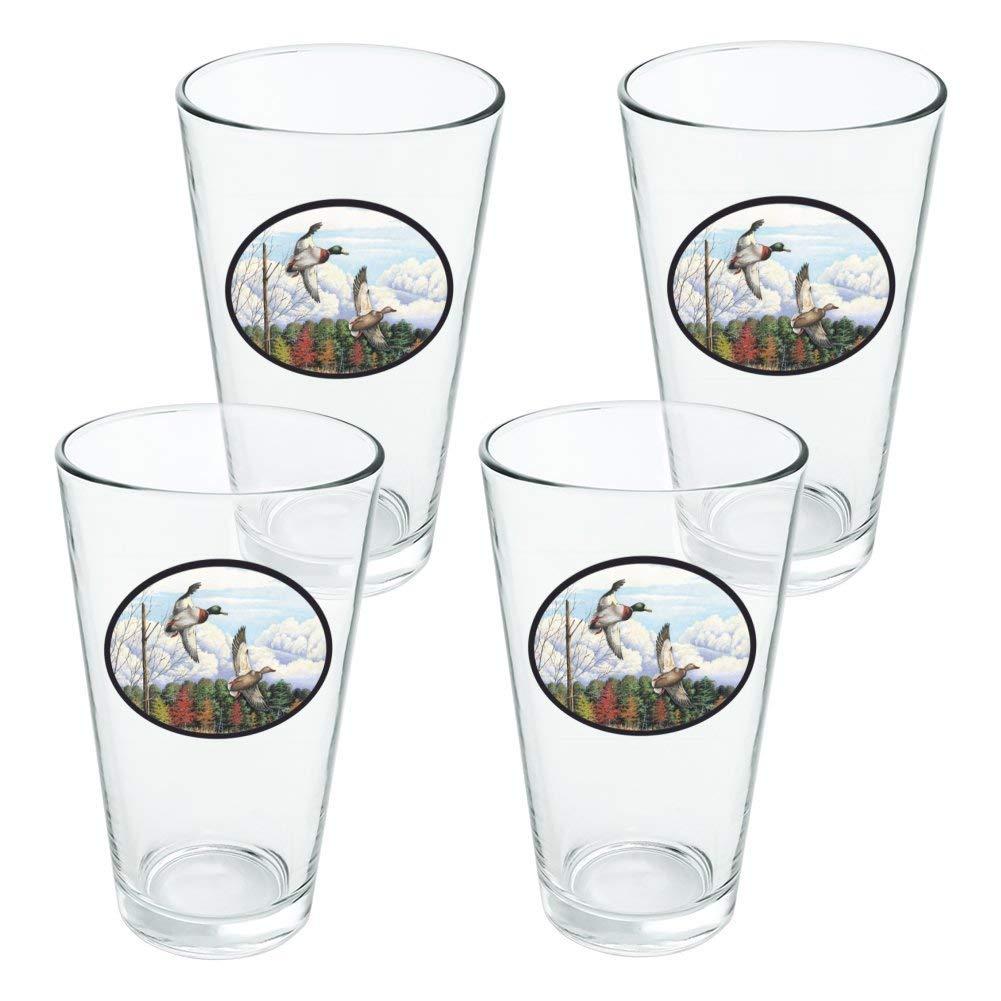 Mallard Ducks Flying Hunting Novelty 16oz Pint Drinking Glass Tempered - Set of 4