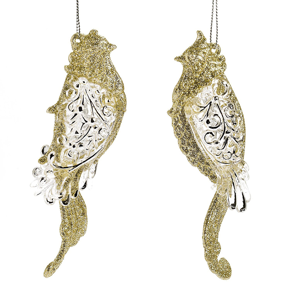 Resin Gold Bird Hanging Ornament For Christmas Accessories