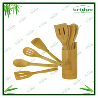 5 PCS bamboo utensils cooking sets tool with holder