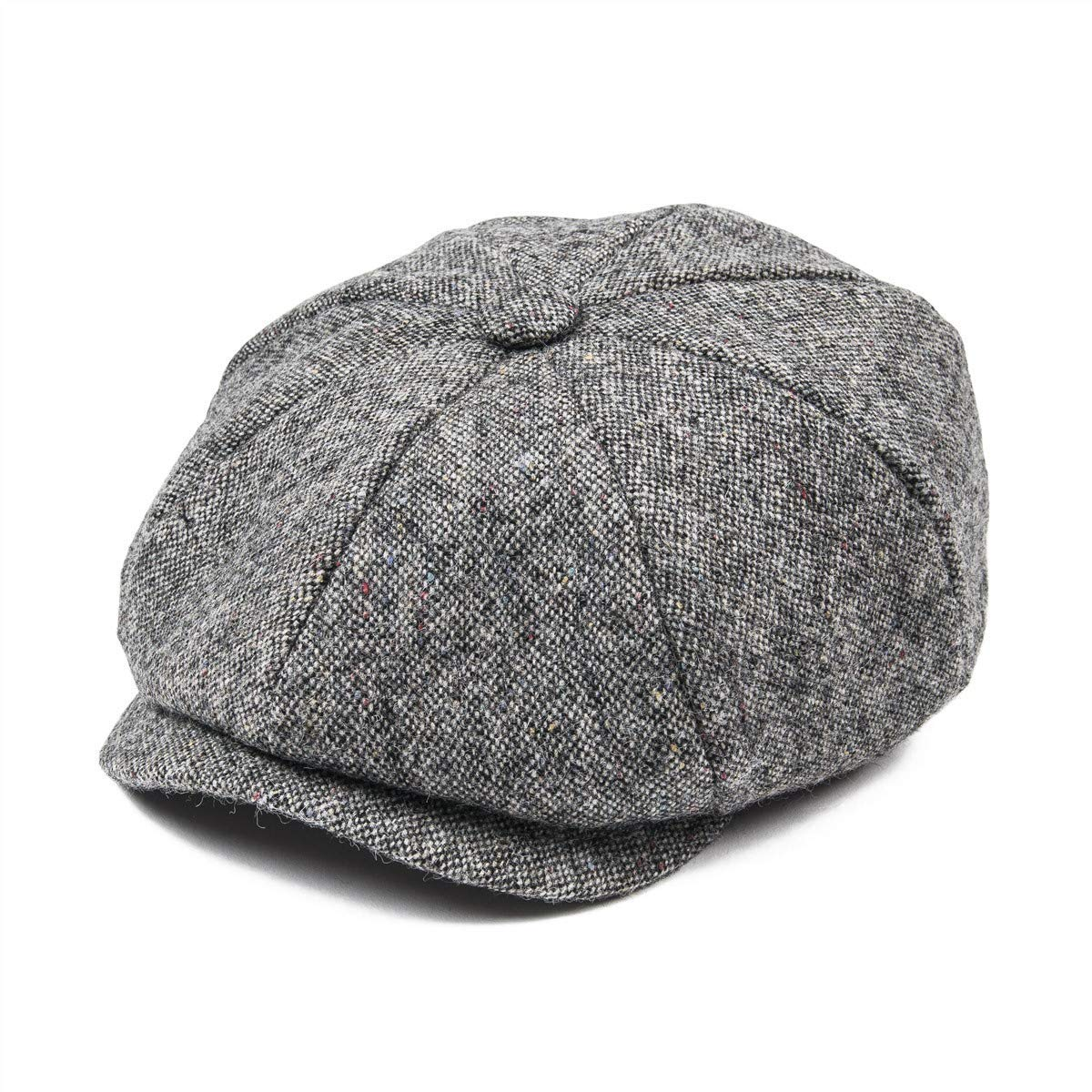 bd6947c509a Get Quotations · JANGOUL Mens 100% Wool Newsboy Cap Grey Series 8 Panel  Tweed Cabbie Hat