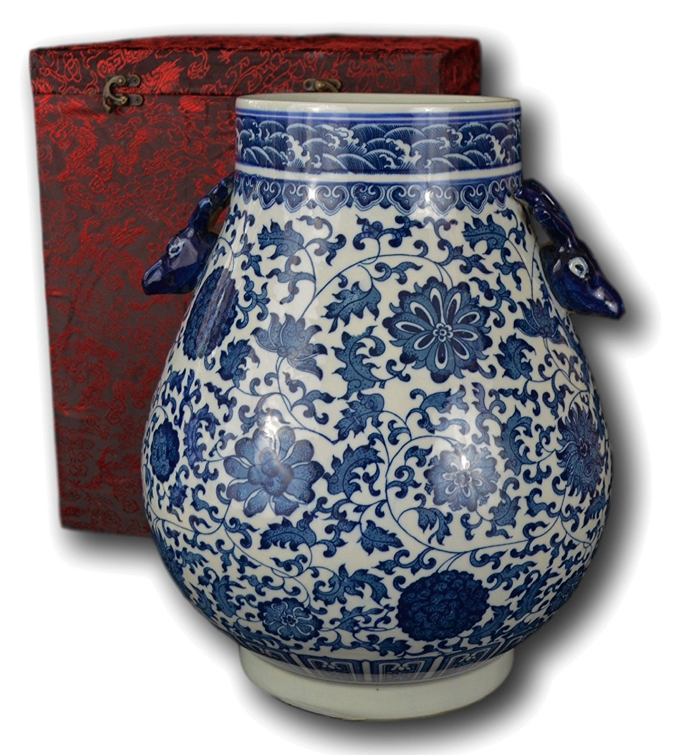 "Classic Blue and White Floral Porcelain Vase, Double Deer Head Handles China Ming Style 10"", Free Wood Base"