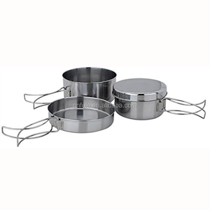 OEM logo outdoor cookware practical camping cooking stainless steel backpacking camping pot sets