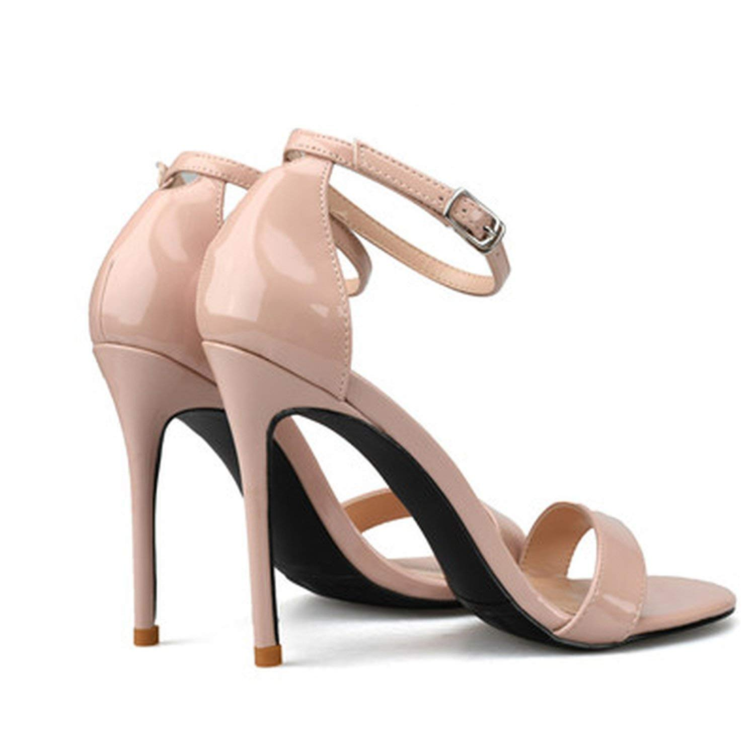 af2e4823493 Get Quotations · Magic-MC Women Sandals High Heels Leather Sexy Nude Ankle Strappy  Sandals Female High Heels