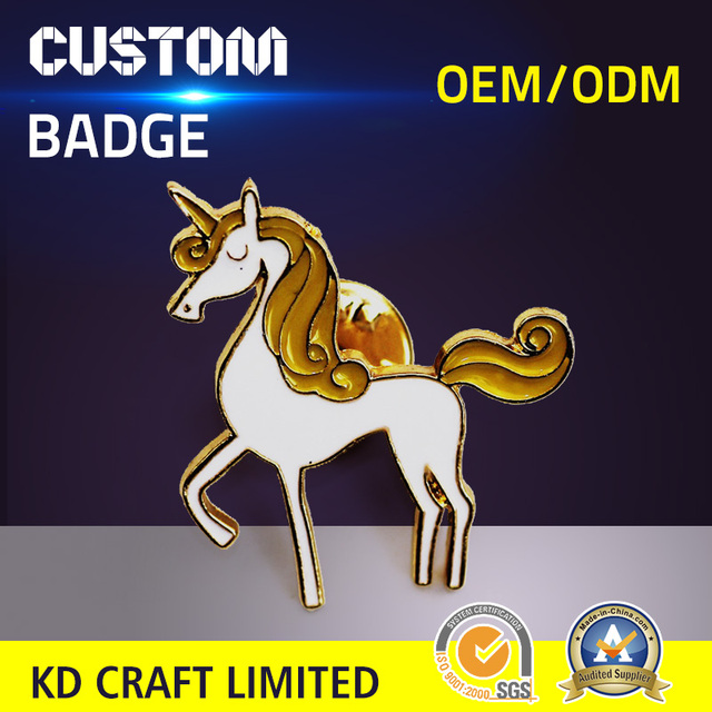 Free sample custom personalized metal glitter enamel cute animal funny unicorn lapel pin for lover