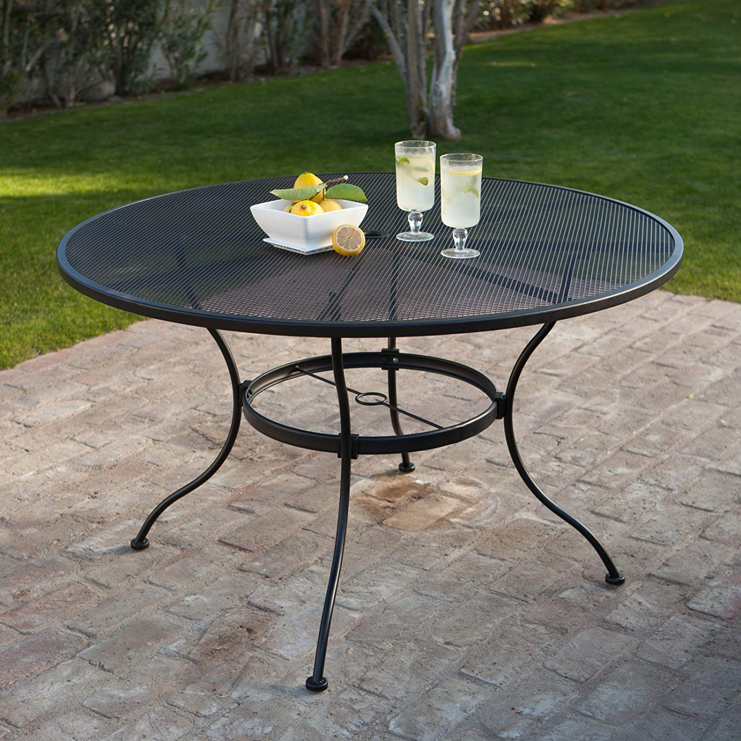Outdoor Mesh Iron Oval Dining Table, Study Construction, Seat Up To Four People, Patio Furniture, Powder Coated Finish, Suitable For Garden, Pool, Backyard, Bistro, Black Color + Expert Guide