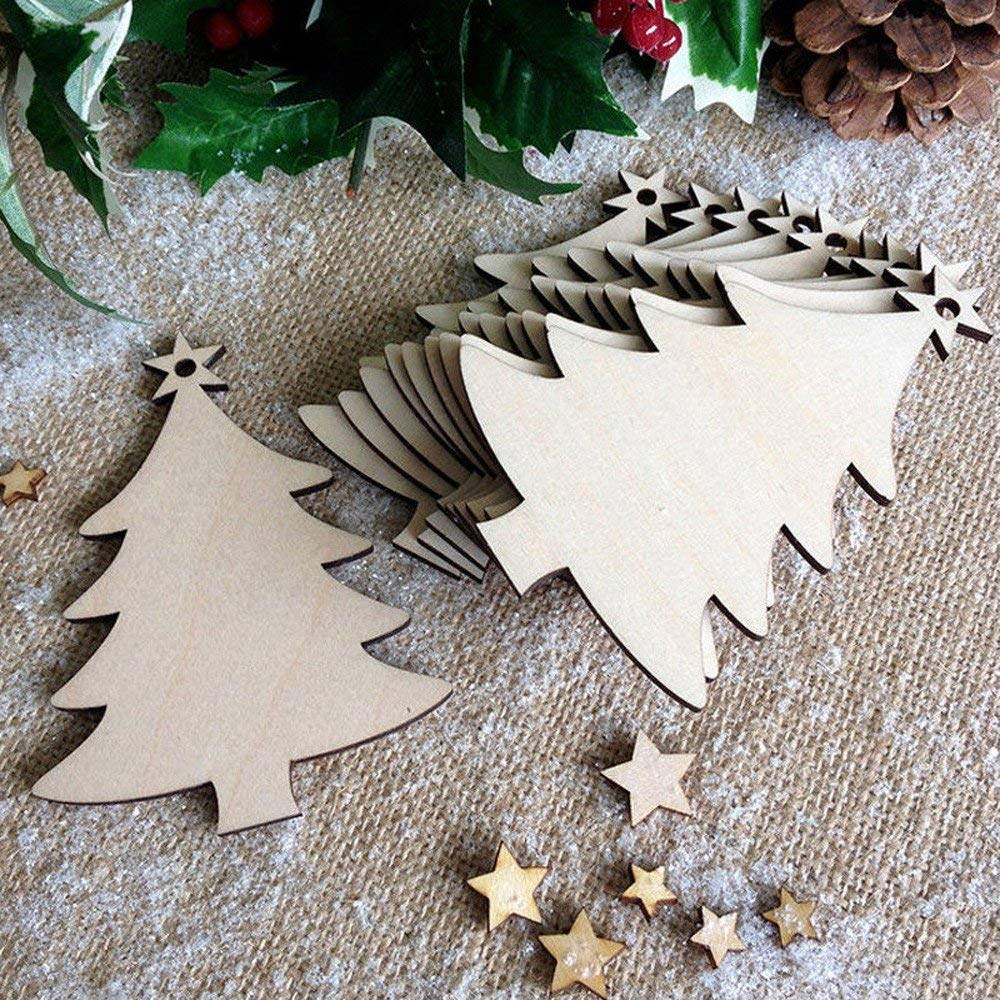 get quotations christmas tree decorationsfaber3 10pcs wood craft christmas tree pendants ornament diy christmas tree xmas