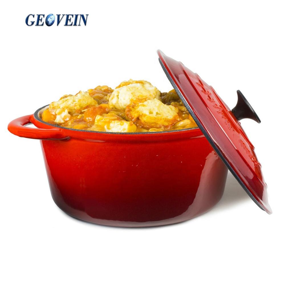 Red Color Enamel Cast Iron 5 QT Dutch Oven