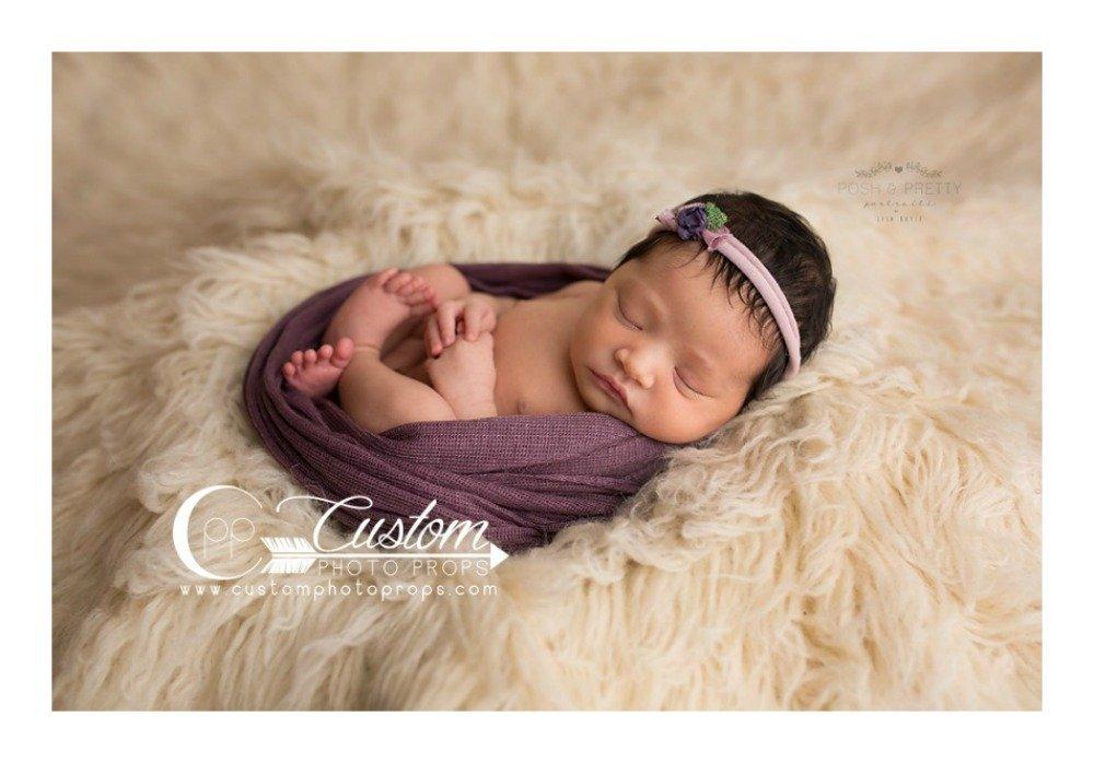 Buy Dark Purple Newborn Photo Props Knit Baby Girl Wraps Prune